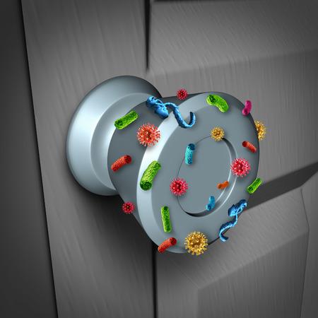 limpieza: Propagaci�n de la enfermedad y los peligros de la propagaci�n de g�rmenes en p�blico como un concepto de riesgo de salud para no lavarse las manos como un pomo de la puerta infectado sucio con los virus y bacterias microsc�picas.