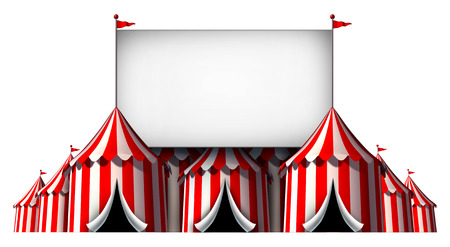 Circus sign as a group of big top carnival tents with a  large blank billboard as a fun entertainment icon for a theatrical celebration or party festival isolated on a white background. photo
