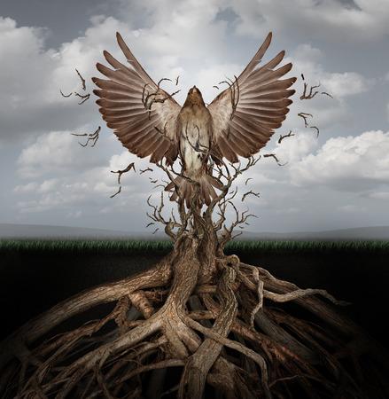 Nova vida se libertando como um conceito de liberdade e poder, como a ascensão da fênix para renascer e superar os desafios que surgem das raízes emaranhadas das árvores como um símbolo de sucesso da esperança.