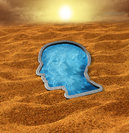 hope: Human hope concept as a dry hot desert with a cool swimming pool oasis shaped as a human face as a concept and metaphor for belief faith and salvation from the challenges of life.