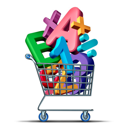 shopping cart icon: Education shopping concept and buying learning material on the internet or at school with private teaching or tutoring symbol. Stock Photo