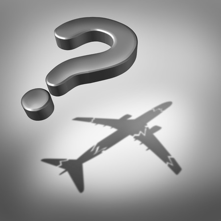 uncertainty: Aviation disaster question and air safety concept as a flying three dimensional question mark with a cast shadow of a damaged airplane as a symbol for uncertainty. Stock Photo