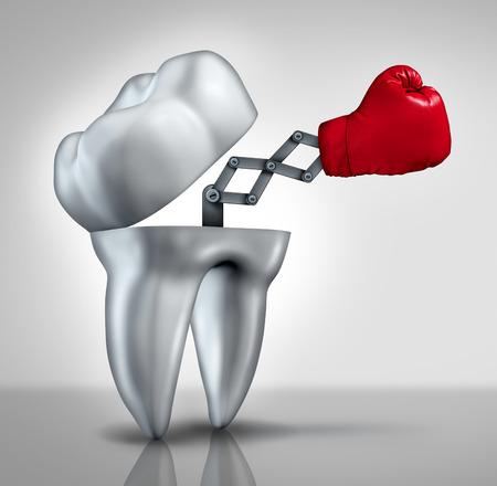 odontologia: La lucha contra las caries y dental concepto de cuidado de la salud como un diente molar abierto con un guante de boxeo rojo emergente para combatir la caries dental como un s�mbolo de higiene de los servicios de odontolog�a y dentistas.