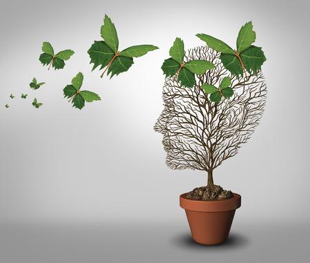 psicologia: Psicología ayuda y soluciones a los problemas psiquiátricos y de salud mental como un concepto de aprendizaje con un árbol vacío y hojas en forma de mariposas que vienen a apoyar y llenar el vacío. Foto de archivo