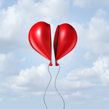 romantic sex: Balloon heart coming together as a valentine symbol and I love you concept with two halves of a divided helium red bubble floating in the sky creating a romantic union.