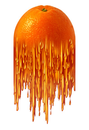 transforming: Orange juice symbol as a tropical fruit transforming into sweet liquid as a food icon for breakfast beverage or healthy nutritios food ingredient. Stock Photo