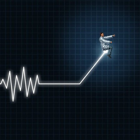 Medical health concept as a physician or researcher guiding and managing an ecg or ekg monitor light out of flat line danger.