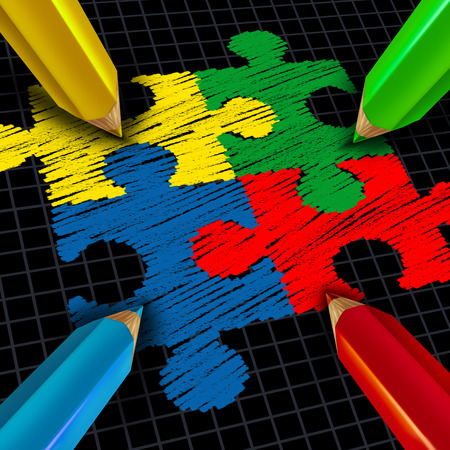 Assembling a business group jigsaw puzzle concept as color pencils drawing pieces connected together as a team and teamwork symbol and partnership success metaphor.