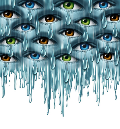 teardrop: World grief and global tragedy concept as a group of human eyes crying with tears in solidarity coming together as a metaphor for community support and emotional healing.