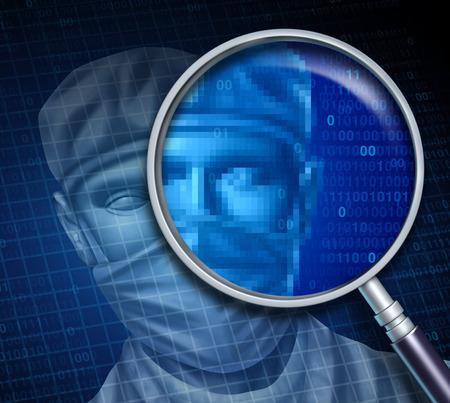닥터 검토 및 의사 데이터의 상징으로 디지털 코드로 병원 전문가에 초점을 맞추고 magnifyiing 유리로 의료 전문가 건강 관리 개념에 대 한 온라인 검색. 스톡 콘텐츠