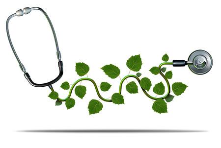 La medicina natural y el concepto de terapia alternativa como un estetoscopio médico con hojas de las plantas que crecen en el equipo médico como un símbolo de salud verde.
