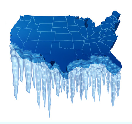 frostbitten: American deep freeze and freezing cold temperature in the United States concept as a blue map of America with frozen ice and icicles.