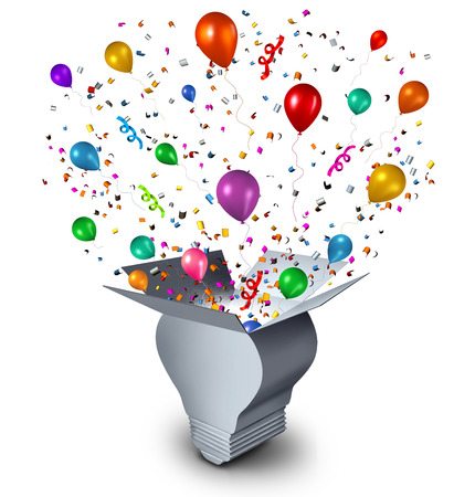 Party ideas and celebration event planning concept as an open cardboard box shaped as a lightbulb with festive balloons confetti and streamers coming out as a symbol of fun thinking. Stock Photo
