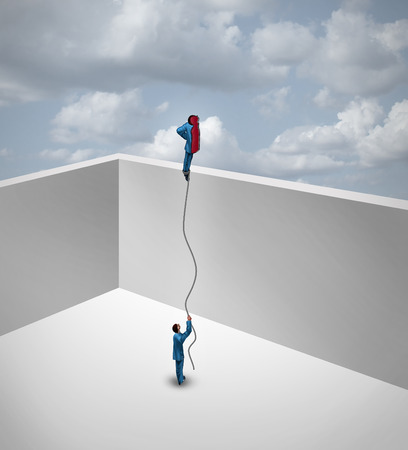 two and a half: Career exploration business success thinking concept as a surreal metaphor with an innovative  businessman split into two pieces with one half flying away above the wall as a balloon. Stock Photo