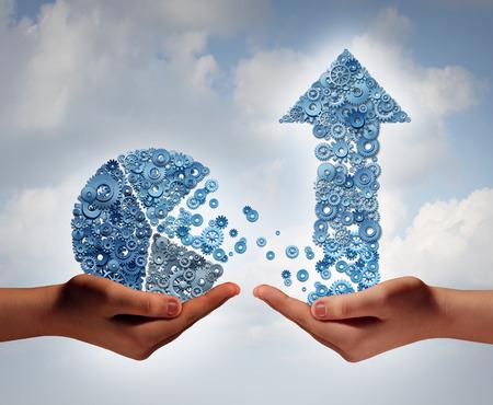 Investir dans le concept de l'entreprise financière de croissance comme deux mains tenant un graphique circulaire de la finance et flèche faite d'engrenages de la machine et roues dentées comme un symbole supportant la technologie à fort potentiel de croissance. Banque d'images - 35336031