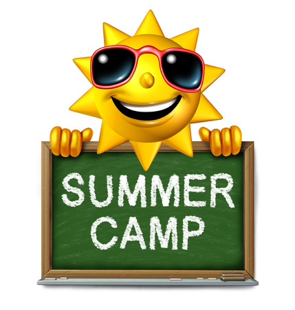 and activities: Summer camp message on a school chalk board with text written as a symbol of after school recreation and fun education with a happy sun character as an icon for childhood success.