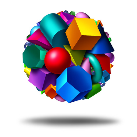 Geometry obects symbol as a group of three dimensional geometric shapes in the form of a globe with figures as a cube sphere cylinder floating on a white background as an education and math learning concept.