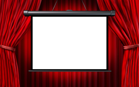 Show screen in a cinema or theater scene with open red velvet curtains as an entertainment symbol with a white blank background.