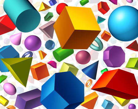 Geometric shapes background and geometry concept as basic three dimensional figures as a cube sphere cylinder floating on white as an education and math learning symbol. Banque d'images