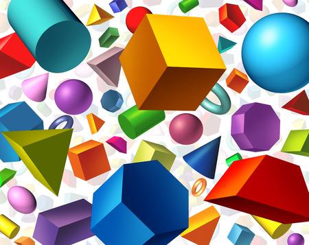 matematica: Las formas geom�tricas de fondo y el concepto de la geometr�a como figuras tridimensionales b�sicas como un cilindro cubo esfera flotante en blanco como un s�mbolo de aprendizaje de la educaci�n y matem�ticas.