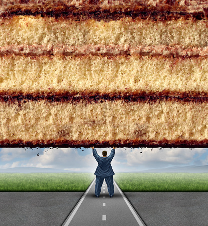 get a workout: Get fit concept and losing weight fitness and health care metaphor as an overweight man lifting a wall made of cake as a symbol of overcoming dieting challenges.
