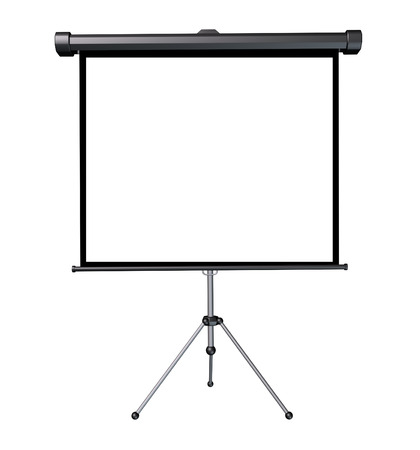 three dimensional: Projection screen with a blank white frame as a three dimensional isolated business presentation object.