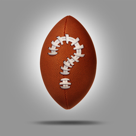 predictions: Sports betting concept as an American football with a question mark symbol as a metaphor for sport  match predictions and uncertainty of the final score.