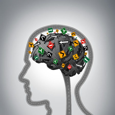 esquizofrenia: El estrés y la salud cerebral Problemas mentales como un grupo de carreteras y calles en forma de una cabeza humana y la mente con las señales de tráfico confusas como un símbolo de los problemas psicológicos.