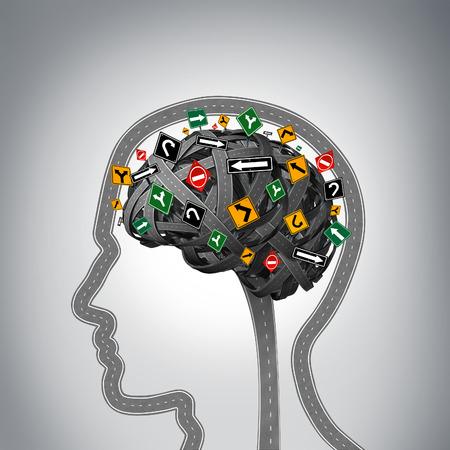 Stres psychiczny i zdrowie mózgu problemy jako grupa dróg i ulic w kształcie ludzkiej głowy i umysłu z niejasnych znaków drogowych jako symbol problemów psychologicznych. Zdjęcie Seryjne