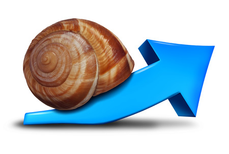 Slow business growth financial symbol as a blue three dimensional arrow pointing up shaped as a snail for the concept of sluggish profit gains or the economy slowly recovering. Foto de archivo
