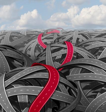 Rood succes pad begrip als een groep van verwarde wegen en een gemarkeerd weg die leidt tot een een eenvoudige oplossing op een uitdagende reis naar een doel.