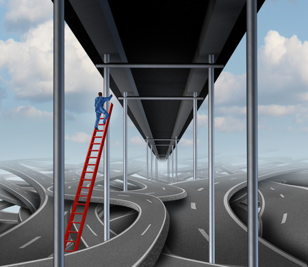 easy way: Successful person concept on a success path business symbol as a businessman climbing a red ladder out of confused tangled roads to a straight easy way bridge.