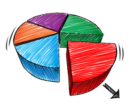Tableau d'affaires croquis dessinés à la main et en trois dimensions note schéma d'un symbole de la tarte comme une icône financière pour les parts de marché de l'investissement sur un fond blanc.