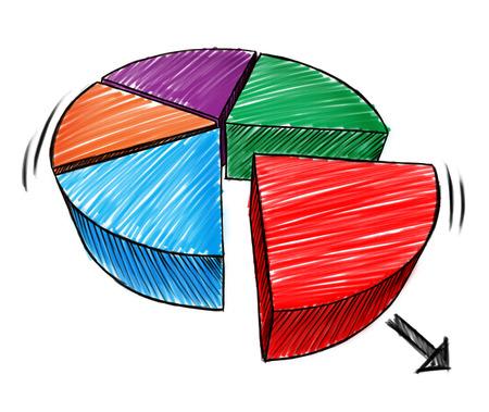 Zakelijke grafiek schets en handgetekende driedimensionale diagram nota van een taart symbool als een financiële icoon voor het aandeel beleggingsmarkt op een witte achtergrond.