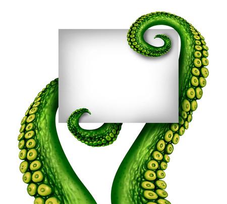 소름 녹색 UFO 촉수 팔 판타지 공상 과학 소설과 우주 공간에서 무서운 생물에 대한 상징으로 복사 공간 흰색 배너를 들고와 외국인 빈 기호.