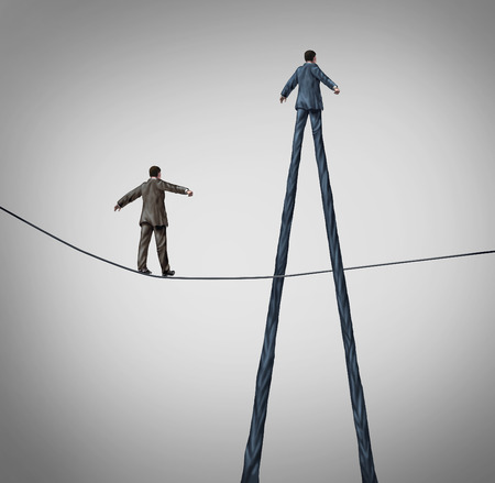 Career advantage business concept as a businessman walking on a high wire tightrope being passed by another better equiped person with long legs as a metaphor for personal skills.