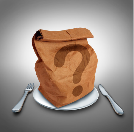 allergy questions: Lunch questions nutrition and dieting conept as a brown bag on a dinner plate with a fork and knife with a question mark as a symbol for choosing your meal.
