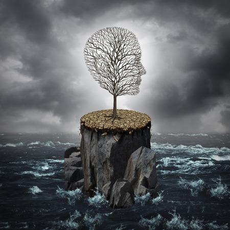 바다로 둘러싸인 마른 땅과 바위 절벽에 혼자 인간의 머리 모양 죽어가는 나무로 실패 위기 개념 및 손실, 사업 경력 또는 교육 기회 유.