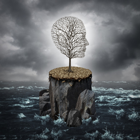 Failure crisis concept and lost business career or education opportunity metaphor as a dying tree shaped as a human head alone on a rock cliff with dry ground surrounded by an ocean.