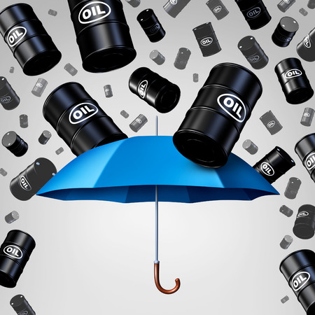 glut: Falling oil protection concept as a group of crude petroleum barrels raining down with a blue umbrella as a security metaphor as a symbol for declining prices in fossil energy due to oversupply.