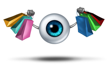 end user: Consumer trends and shopping research and fashion trends follower concept as a human eyeball character holding shop bags as a retail buying symbol for customer protection. Stock Photo