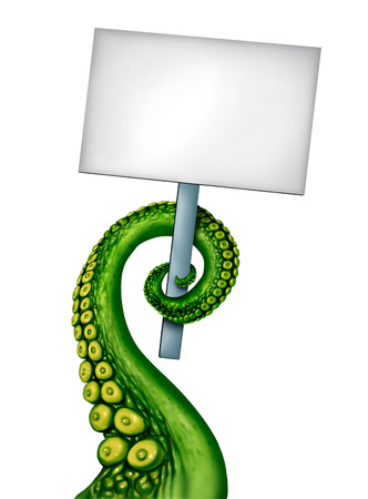 creepy alien: Alien creature banner as a blank sign with a creepy green ufo tentacle arm holding a white placard with copy space as a symbol for fantasy science fiction and scary creature from outer space. Stock Photo