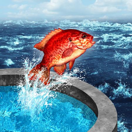 concept de Courage et le symbole de l'ambition comme un poisson rouge sauter d'un bassin artificiel de rejoindre l'océan bleu naturelle ou ferme soulevées mer problème social.