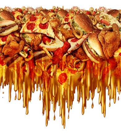 Greasy fast food concept with liquid driping grease as fried restaurant take out with onion rings burger and hot dogs and fried chicken french fries as a symbol of unhealthy diet nutrition.