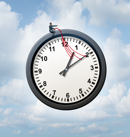 commanding: Control your time concept and taking charge of your business schedule symbol as a businessman providing guidance to a flying clock metaphor in the sky. Stock Photo