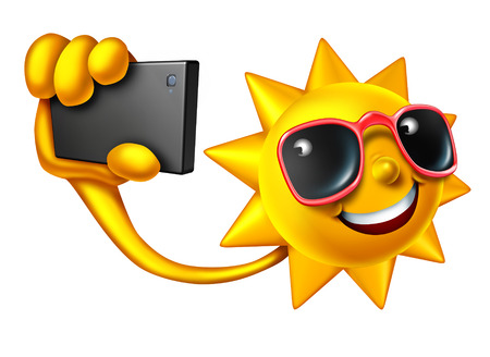 smartphone icon: Summer selfie social media concept as a happy sun character holding a smartphone taking a portrait photo to update friends on current personal lifestyle news.