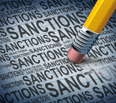 easing: Removing sanctions lifting economic pressure as a global economy symbol for solutions to trade disputes as a pencil eraser erasing words as a metaphor for diplomatic success in negotiating government agreements. Stock Photo