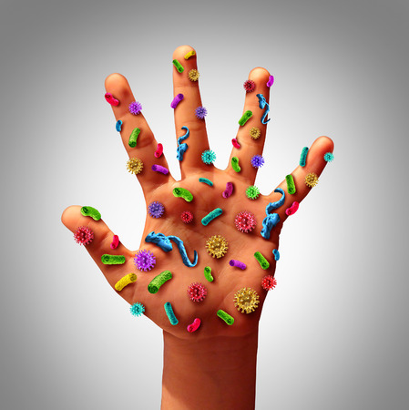microbes: Hand germs disease spread and the dangers of spreading illness in public as a health care risk concept to not wash your hands as dirty infected fingers and palm with microscopic viruses and bacteria.