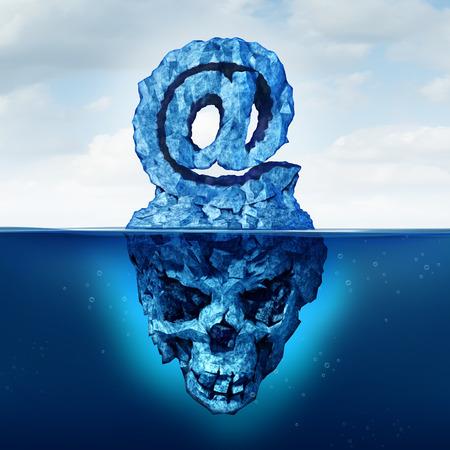 deceptive: E-mail risico en internet communicatie gevaar als een ijsberg in de vorm van een ampersand e-mail symbool met een schedel vorm verborgen onder het water als een metafoor voor misleidende web aanval.
