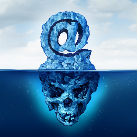 hidden danger: Email risk and internet communication danger as an iceberg shaped as an ampersand  e-mail symbol with a skull shape hidden under the water as a metaphor for deceptive web attack. Stock Photo